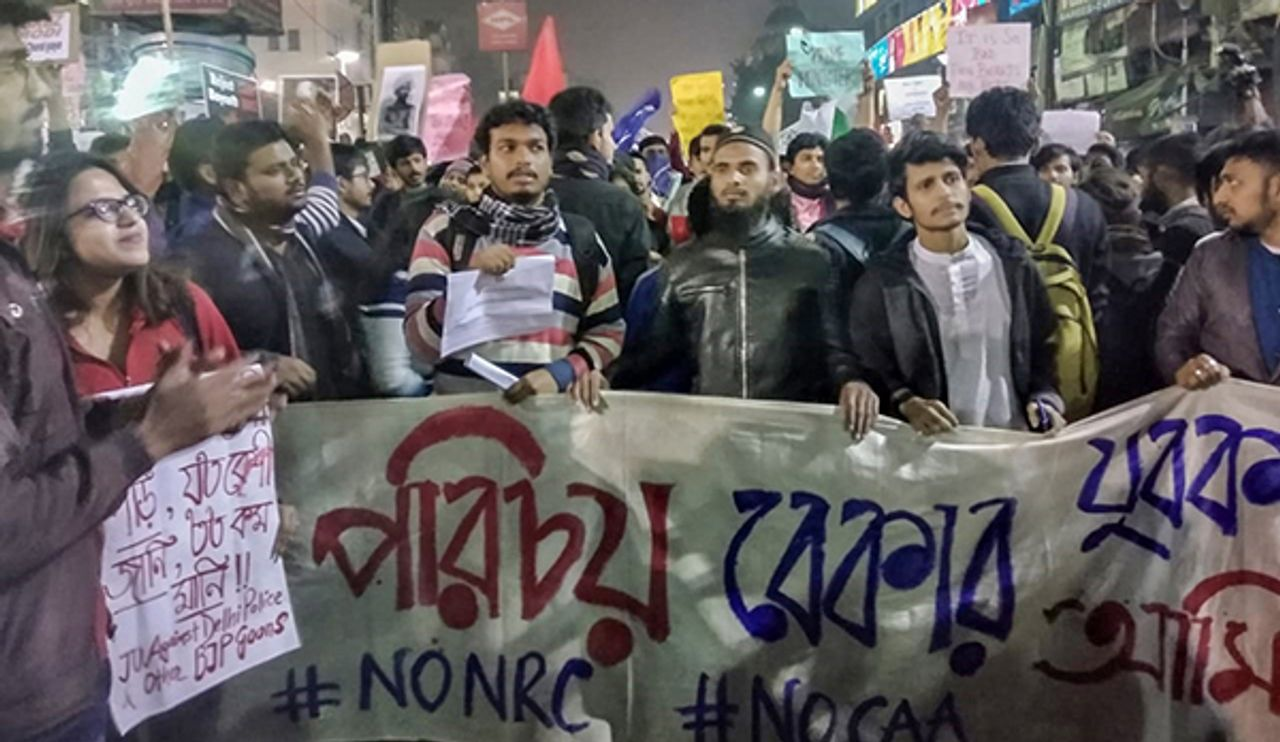 A section of the protest in Kolkata