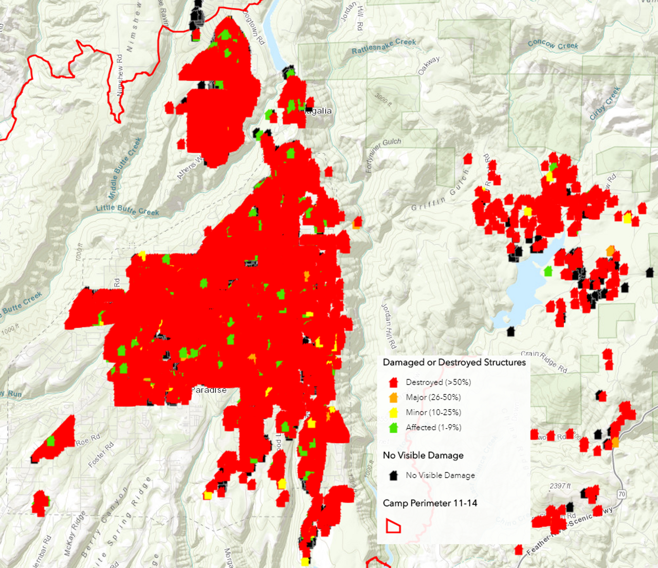 A map of the building damage in Paradise, CA and surrounding areas