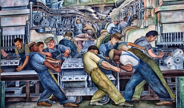 Diego rivera s battle of detroit world socialist web site for Blood in blood out mural la river