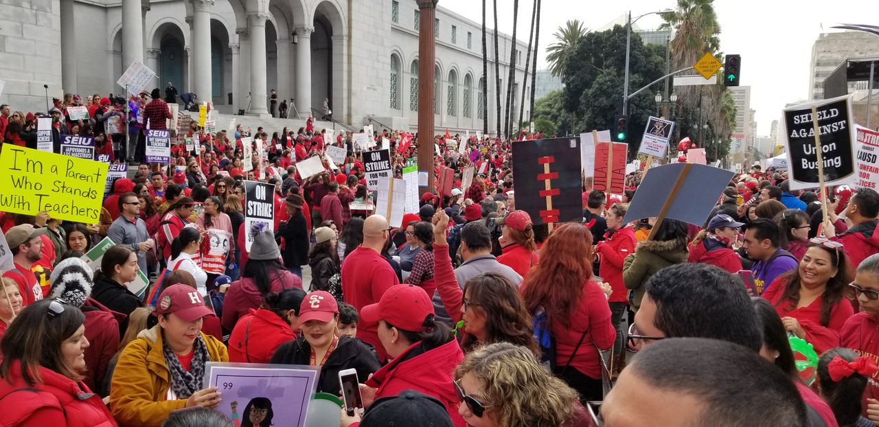 Teachers rallying in Los Angeles, USA last Friday