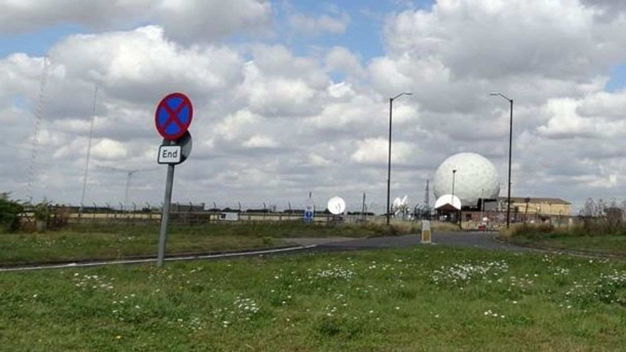 The crash location at Croughton spy base in England, where Anne Sacoolas killed teenager Harry Dunn