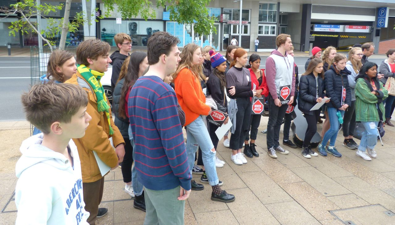 Students at the anti-climate change rally in Geelong, Australia