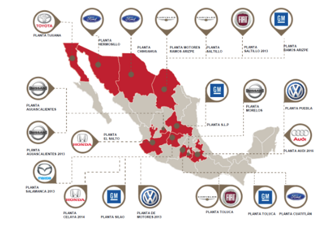 US Mexican And Canadian Autoworkers Face Common Fight World - Map of us auto manufacturers