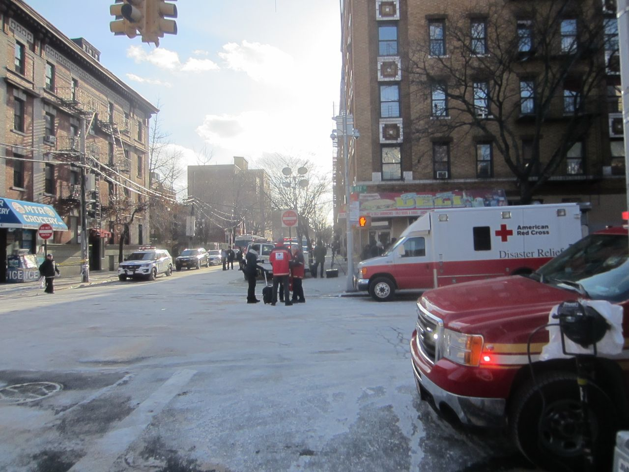 Emergency responders near the site of the fire in the Bronx, New York City