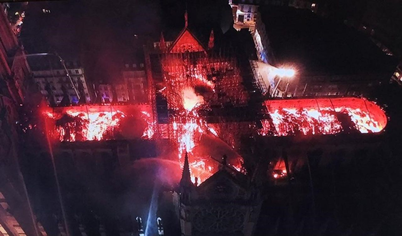 Aerial view of the fire at Notre Dame