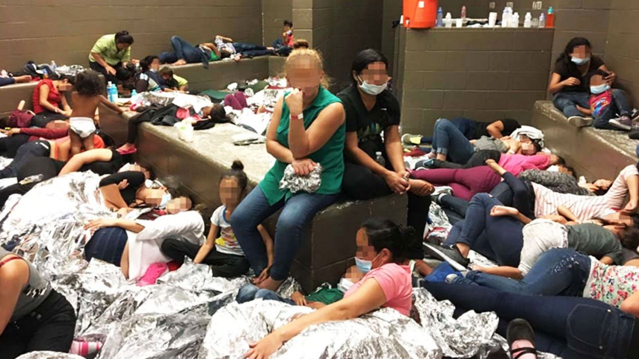 Overcrowded immigrant families held in McAllen, Texas Border Patrol detention center [Credit: OIG]
