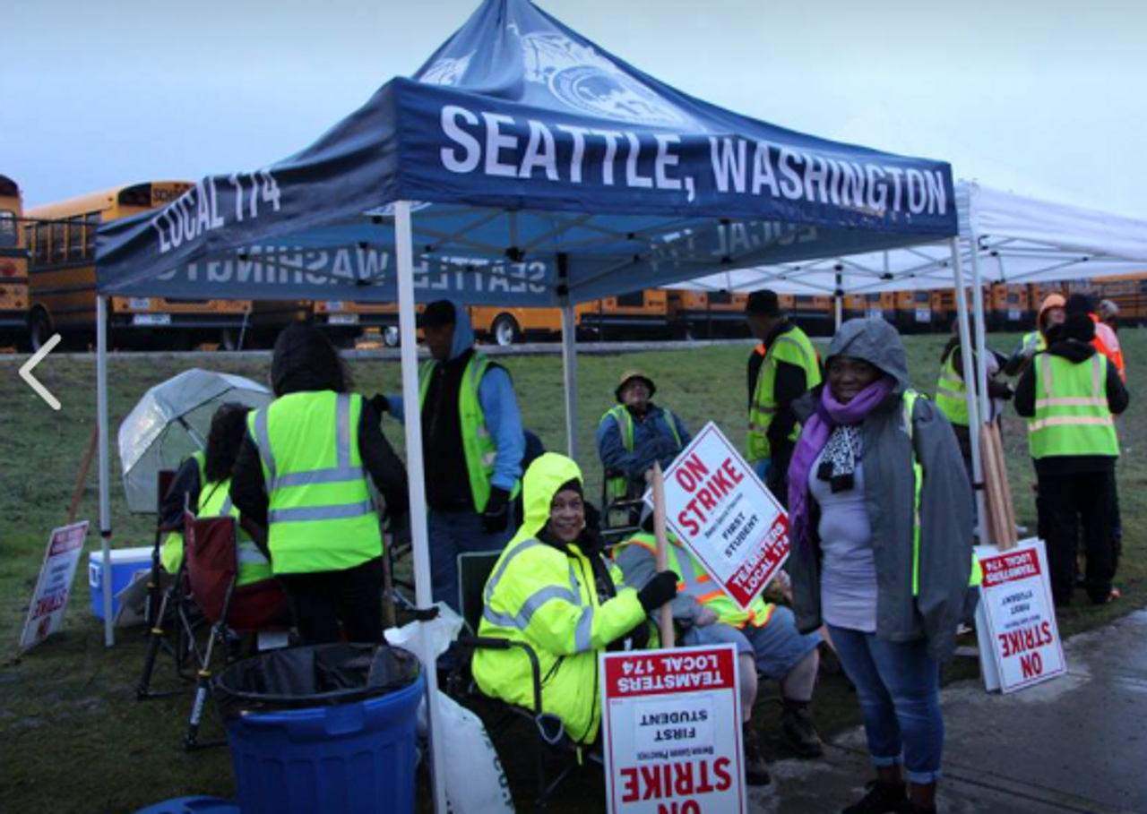 Striking Seattle school bus drivers on Thursday Source Teamsters L. 174 Facebook page & Seattle schoolbus drivers walk out in indefinite strike - World ...