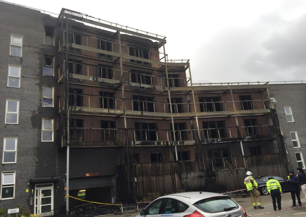 The burnt out residential block in De Pass Gardens, Barking